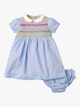 Boden Baby Smocked Occasion Striped Dress, Blue