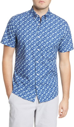 1901 Slim Fit Fish Print Short Sleeve Button-Down Shirt