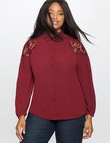 ELOQUII Plus Size Lace Shoulder Detail Button Down Shirt