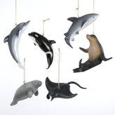 "Kurt Adler 4"" RESIN MARINE ANIMAL ORNAMENT SET OF 6 - Christmas Ornament"