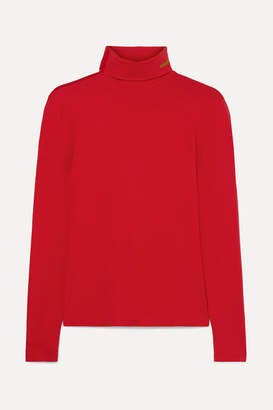 Calvin Klein Embroidered Stretch-cotton Jersey Turtleneck Top - large