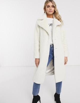 Miss Selfridge faux fur maxi coat in cream