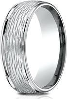 Ice 14K White Gold 7.5mm Comfort-Fit Round Edge Birch Bark Center