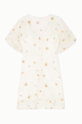 Olivia von Halle Maleficent Edie Pearl-embellished Embroidered Silk-organza Mini Dress - White