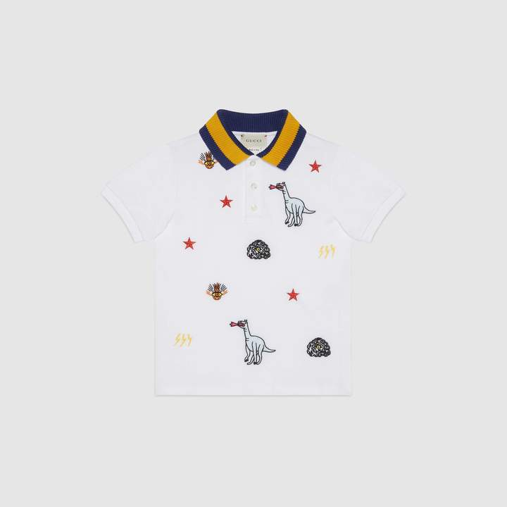 Gucci Children's embroidered cotton polo