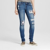 Dollhouse Women's Destructed Patch Rolled Cuff Jeans Junior's)