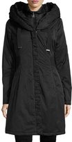 T Tahari Hooded Ribbed-Trim A-Line Jacket, Black