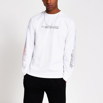 River Island White printed long sleeve T-shirt