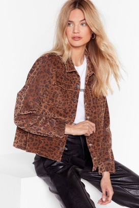 Nasty Gal Womens Spot Me if You Can Leopard Corduroy Jacket - Brown - 4