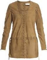 Saint Laurent Lace-up panelled suede dress