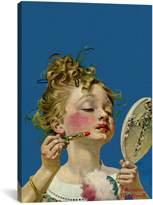 Rockwell Icanvasart Little Girl With Lipstick By Norman Canvas Reproduction