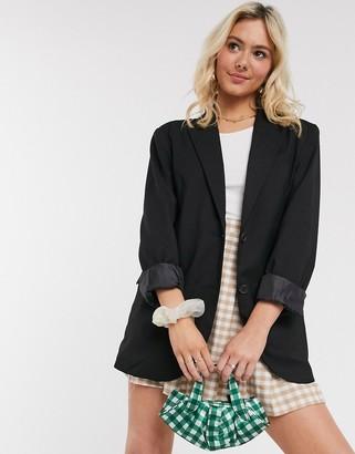 Monki Blush oversize blazer in black