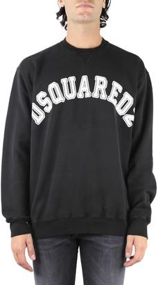 DSQUARED2 White Contrasting Logo Black Cotton Sweatshirt