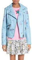 Mira Mikati Women's Hand Painted Doodle Leather Jacket