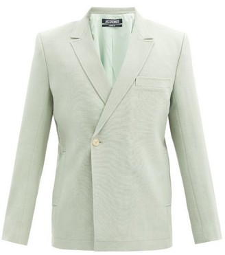 Jacquemus Moulin Double-breasted Wool-blend Canvas Blazer - Light Green