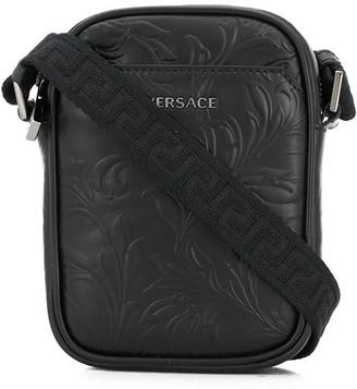 Versace Embossed-Leather Crossbody Bag