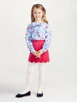 Oscar de la Renta Watercolor Fleur Cotton Bow Blouse