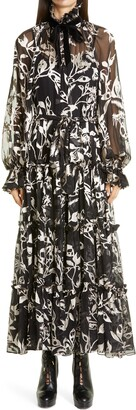 Zimmermann Ladybeetle Eye Burnout Chiffon Long Sleeve Maxi Dress