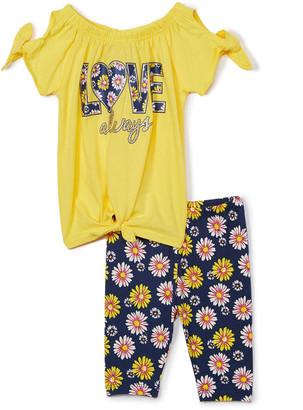 Girls Luv Pink Girls' Leggings gold - Yellow & Navy Floral 'Love Always' Cutout Top & Leggings - Toddler & Girls