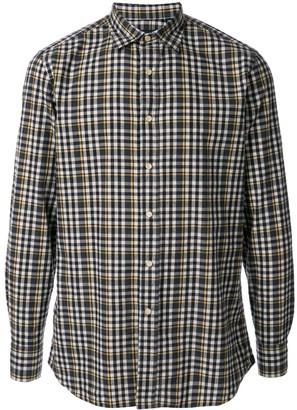 Lardini plaid spread collar shirt