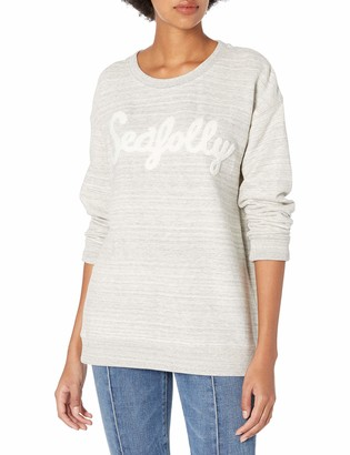 Seafolly Women's Castaway Stripe Looped Flock Logo Pullover