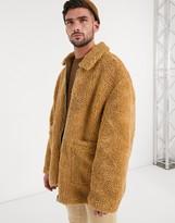 Asos Design DESIGN teddy harrington jacket in tan