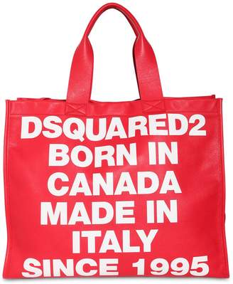 DSQUARED2 News Logo Printed Leather Tote