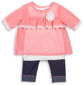 Little Lass Baby Girls Three-Piece Lace Top, Tank Top and Capri Pants Set