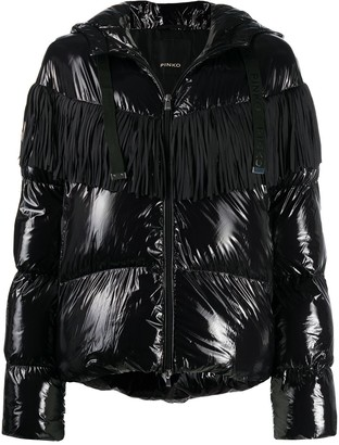 Pinko Fringed-Yoke Quilted Hooded Jacket
