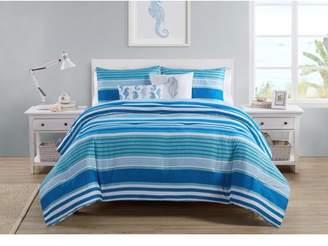Vcny Home VCNY Home Brody Reversible Blue Stripe Duvet Cover Set, King, Navy/White