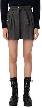 Maje Island High Waisted Pinstriped Shorts
