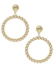 Ettika Drop Hoop Imitation Pearl Earrings
