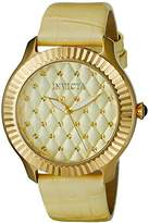 Invicta Women's 'Angel' Quartz Stainless Steel and Yellow Leather Casual Watch (Model: 22562)