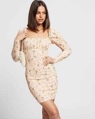 Missguided Ribbed Floral Ruched Cup Mini Dress