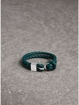 Burberry Braided Leather Bracelet, Blue