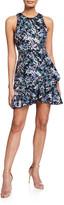Aidan Mattox Sequin A-Line Mini Halter Dress