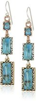 "Barse Parallel"" Tri-Tone Genuine Turquoise Linea French Wire Drop Earrings"