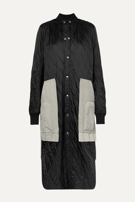 Rick Owens Suede And Wool-trimmed Quilted Shell Coat - Black