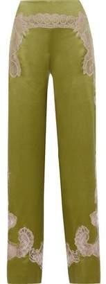 Alberta Ferretti Lace-appliqued Silk-charmeuse Wide-leg Pants