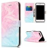 iPhone 7 Plus Case,DAMONDY Luxury Marble Stand Wallet Purse Card ID Holders Design Flip Cover TPU Soft Bumper PU Leather Magnetic Case for Apple iPhone 7 Plus 2016 -pink green