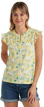 Lucky Brand Sleeveless Button-Up Smocked Printed Top (Yellow Multi) Women's Clothing