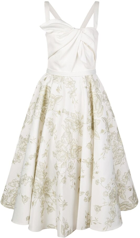 Marchesa embroidered flared midi dress