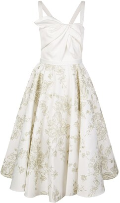 Marchesa Embroidered Flared Midi Dress