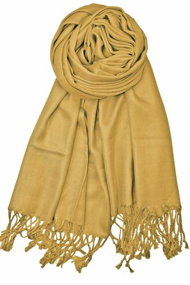 World of Shawls Handcrafted Soft Pashmina Shawl Wrap Scarf in Solid Colors High Quality 100% Viscose Factory Clearance (Gold)