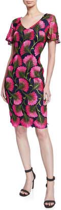 Trina Turk Stahl Embellished V-Neck Short-Sleeve Shift Dress