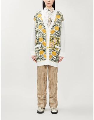 Loewe x William De Morgan floral-embroidered wool-blend cardigan