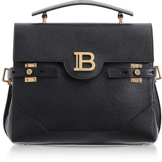 Balmain Black Buffalo Leather B-Buzz 30 Satchel Bag