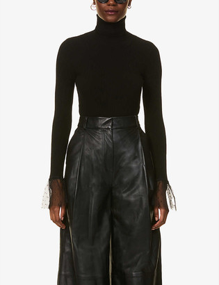 RED Valentino Turtleneck flared-cuff knitted and organza jumper