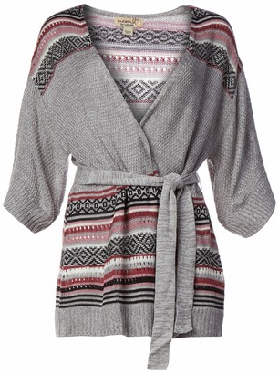 One World ONEWORLD Women's Petite Size Kimono Sleeve Tie Waist Cardigan
