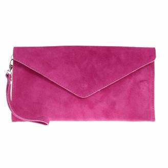 Leahward Wrist Strap Genuine Italian Suede Leather Envelope Clutch Bags Party Wedding Purse Handbag Cross Body Bag CW01 (Purple)